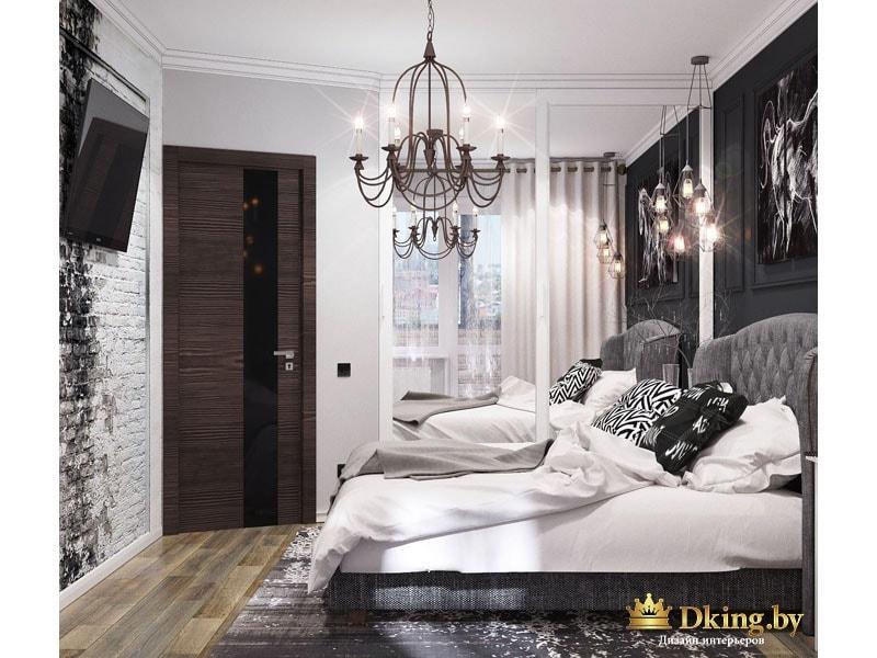 Темная спальня с подушками