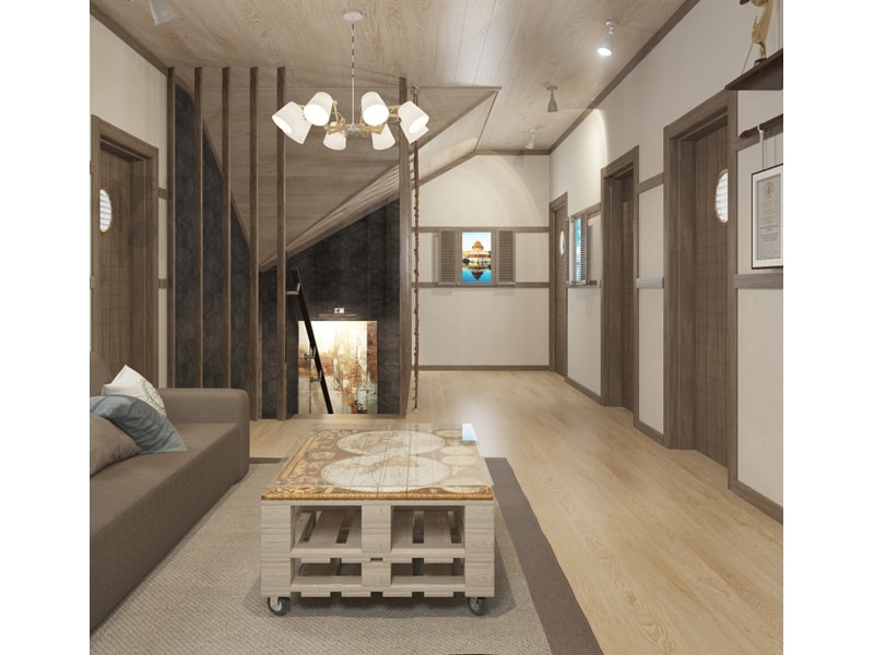 Деревянная гостиная на втором этаже