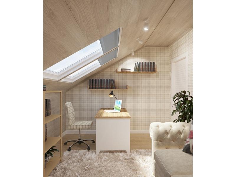 Мансардные окна в светлом кабинете