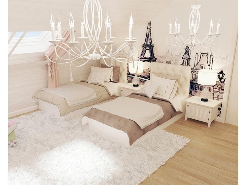 ДВе светлые кровати в спальне
