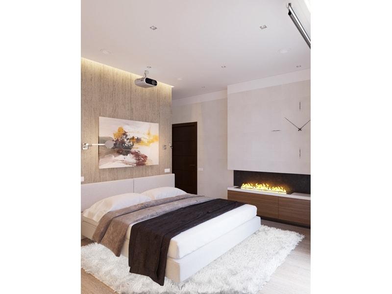 Спальня  с часами на стене