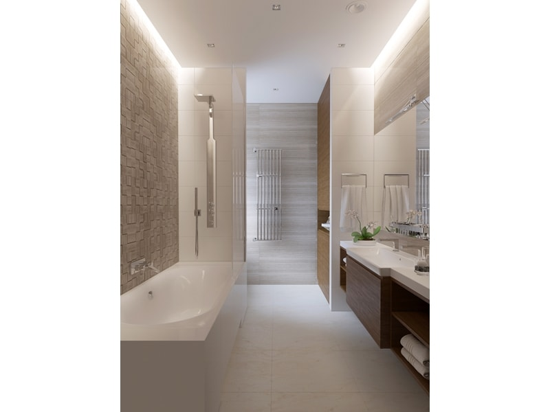 Светлая ванная с подсветкой