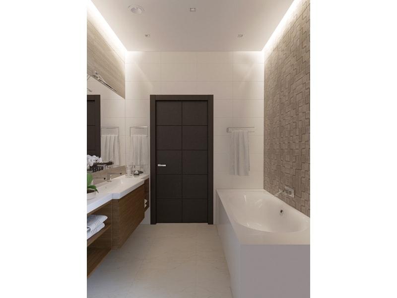 Светлая ванная с черной дверью