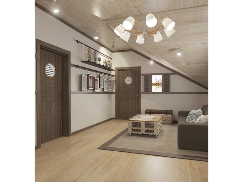 Гостиная со скошенным потолком