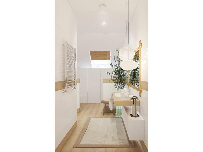 Светлая ванная с мансардным окном