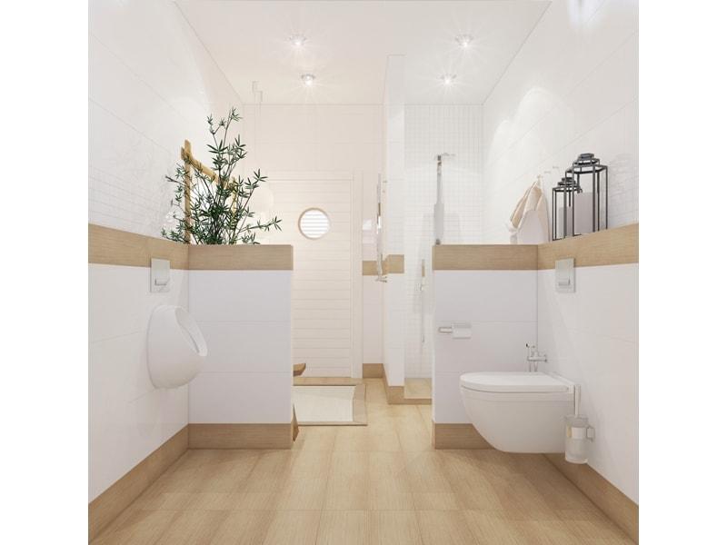 Светлая ванная с перегородкой