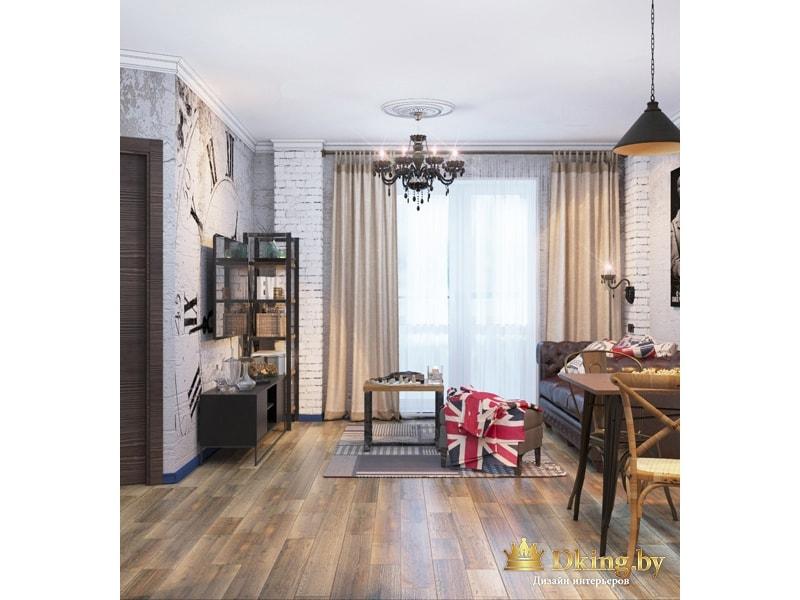 Гостиная комната в стиле  лофт