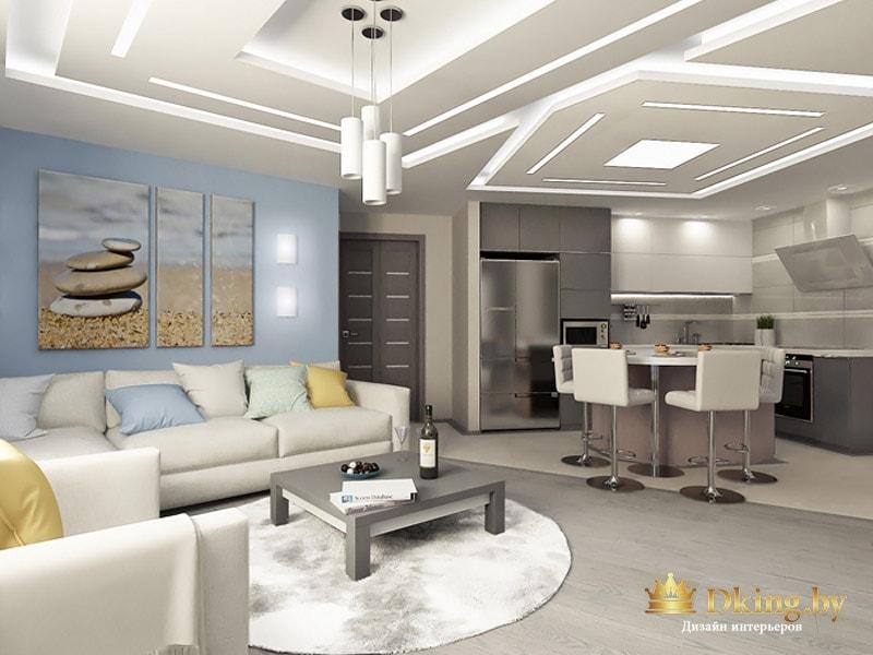 простоорная гостиная в серых тонах с акцентной голубой стеной