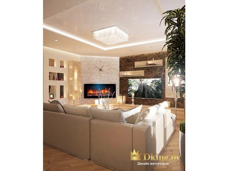 вид на гостиную из столовой зоны: большой угловой диван, искусственный камин и оригинальные часы над камином