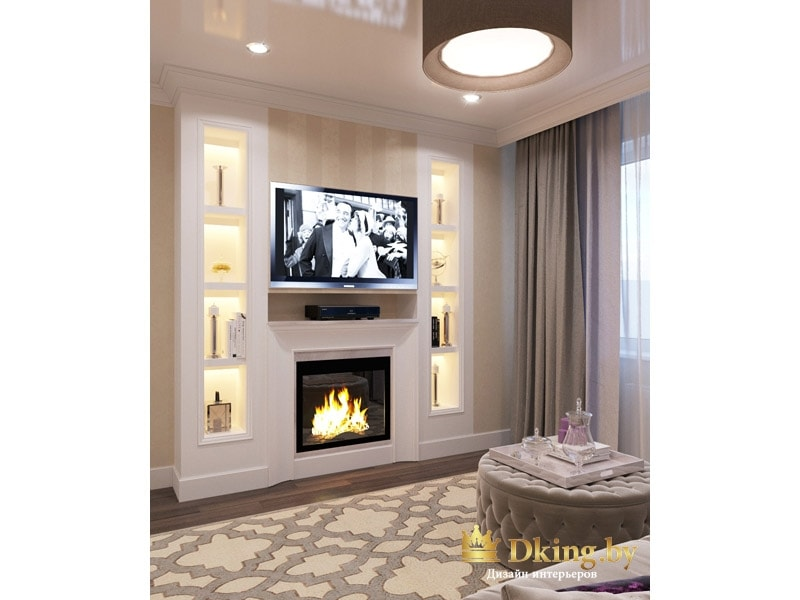 гостиная: камин, две колонны-ниши с подсветкой и телевизор над камином