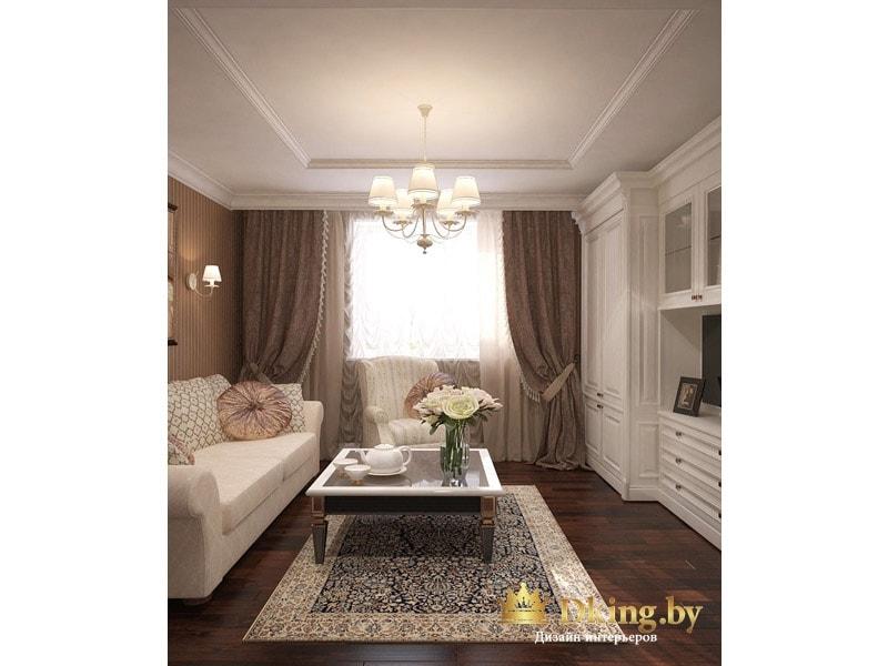 светлая мягкая и корпусная мебель на фоне темного пола в классической гостиной. Шторы цвета какао