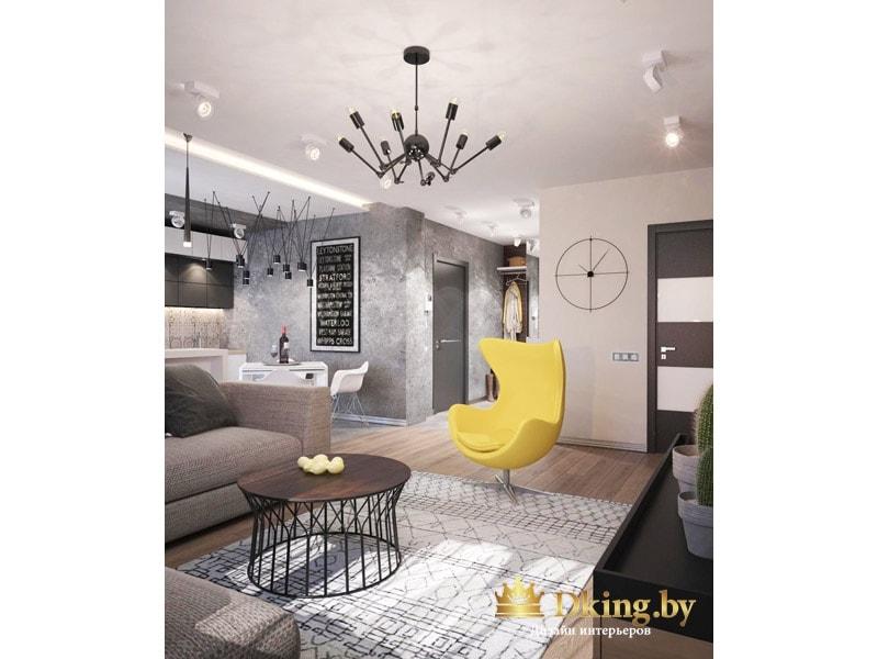 желтое кресло на одной ножке как акцент в бежево-сером интерьере. Необычная стена с серой декоративной штукатуркой дополена черной доской с пожеланиями. двери темные, панели стекла чередуются с панелями МДФ. стены светлые, пол под дерево