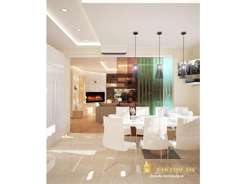 вид на столовую группу: белые современные стулья, стеклянная стена-перегородка, разделяющая столовую и гостиную