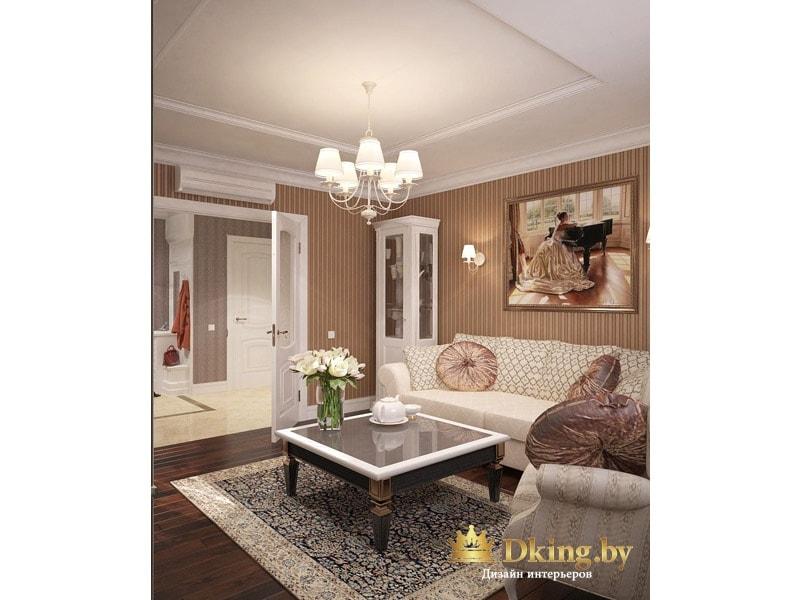 светлый узкий шкаф-витрина в гостиной на фоне бежевых обоев в узкую классическую полоску
