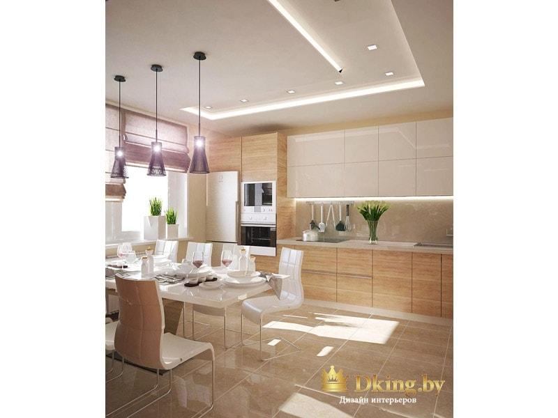 Современная кухня: на полу плитка глянцевая бежевого цвета. Верх шкафчиков белый, низ - под дерево. Большая столовая группа на 8 человек