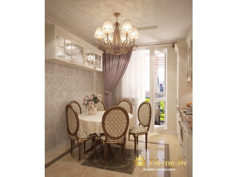 классическая столовая группа: круглый стол под скатертью, круглые стулья, люстра на шесть рожков