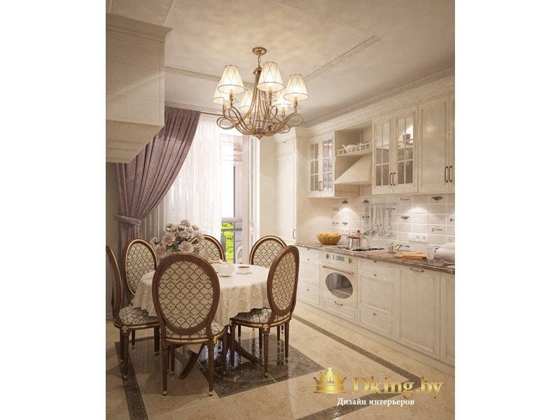 панно на полу в кухне из плитки, имитирующее ковер. Классическая рожковая люстра, круглый стол, белый кухонный гарнитур и белая техника