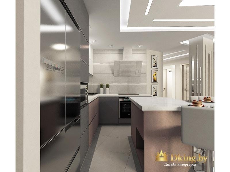 кухня с острововм: стена с вытяжкой без дополнительных шкафчиков