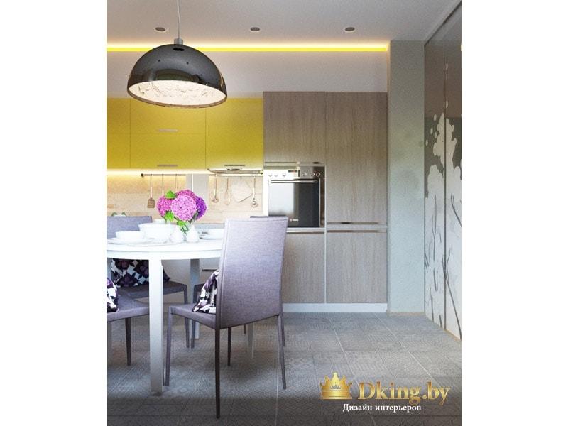 вид на кухню из гостиной: пенал со встроенной техникой под дерево, верхние шкафчики оливкового цвета, обеденный стол круглый, стулья современные с высокими мягкими спинками, ножки хромированные узкие