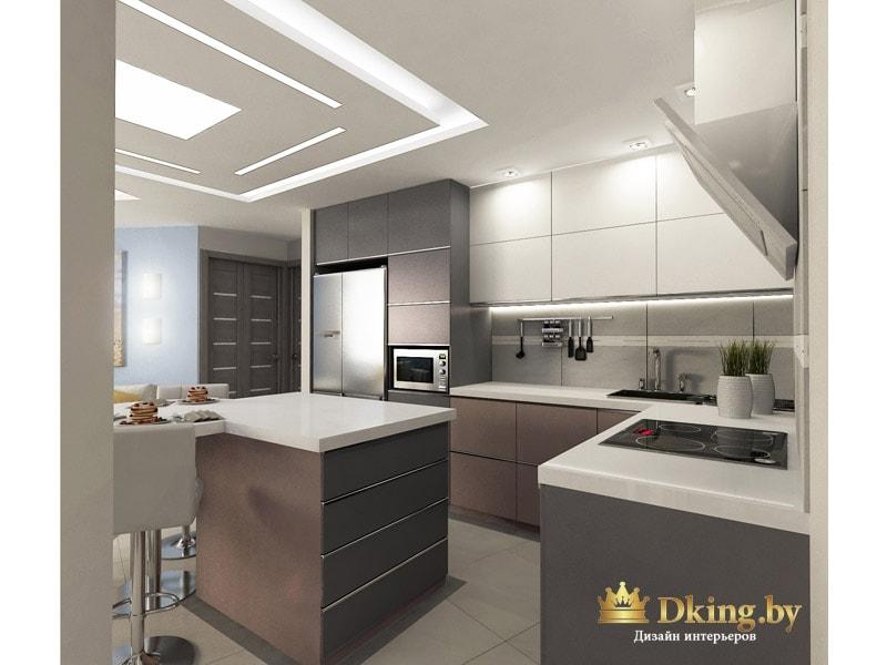 кухня: большой остров вместо обеденного стола, шкафчики с доводчиками без ручек, верхние шкафчики белые, нижние - цвета какао, столешница из белого искуственного камня, холодильник стальной side-by-side