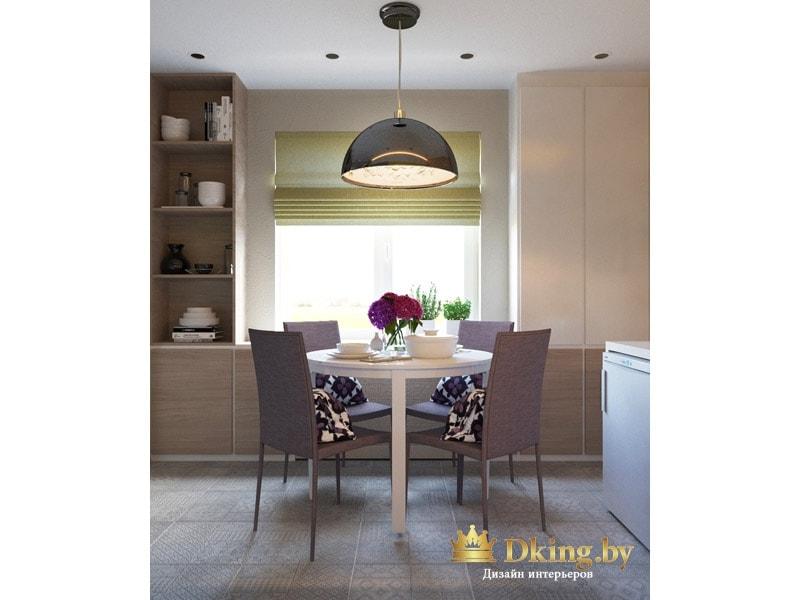столовая группа: круглый белый стол, 4 современных стула серо-бежевого цвета. на окне - римская штора оливкового цвета, на потолке - подвесной светильник лаконичной формы