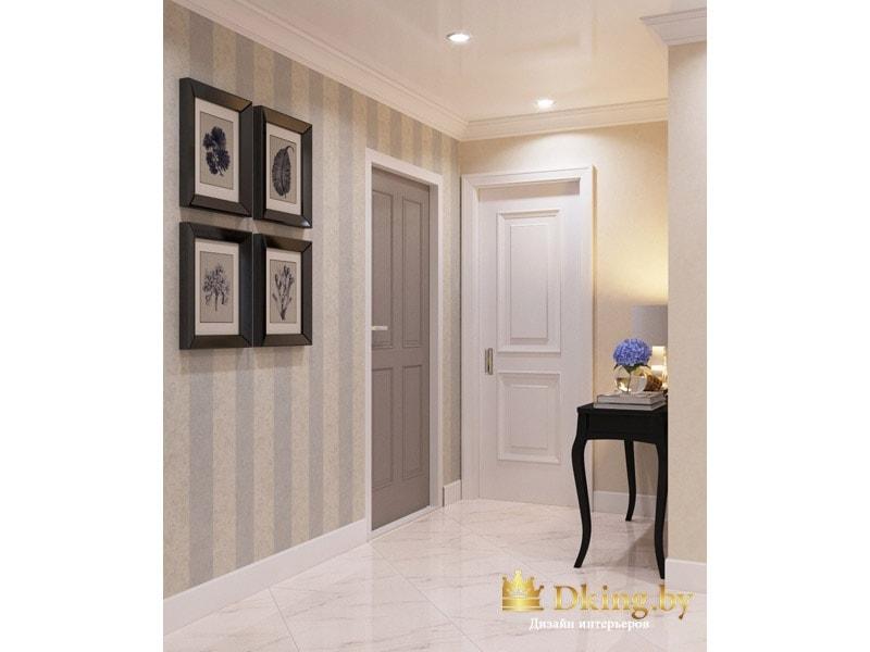 прихожая: полосатые обои, белый плинтус, белый пол под мрамор. Темные акценты: картины в рамках, туалетный столик