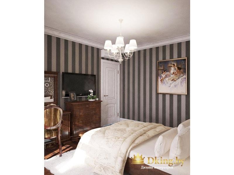 стены в спальне оклеены темно-серыми обоями в классическую полоску. Мебель темного дерева, на потолке пятирожковая люстра