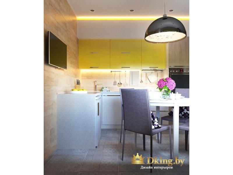 кухня угловая: верхние шкафчики оливковые, нижние - белые. светильник над столом подвесной лакончиной формы черного цвета.