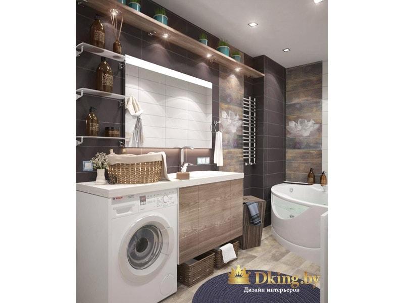 стиральная машина встроена под столешницу из искусственного камня с умывальником. зеркало с подсветкой. плитка серая и коричневая под мрамор