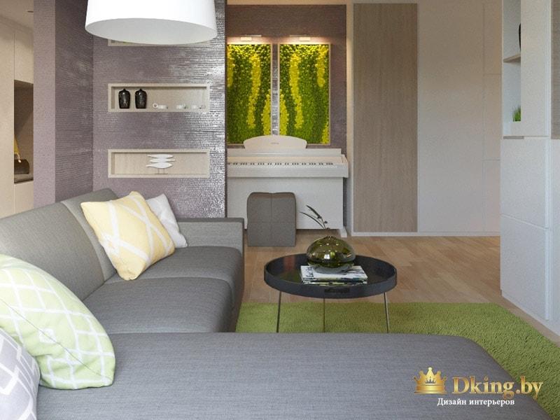 гостиная в современном стиле: пол под натуральное дерево, серый угловой диван, круглый журнальный столик на метличческий ножка, природные мотивы. Акцентный цвет - травяной салатовый, оливковый