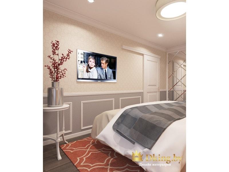 спальня: белая раздвижная дверь, телевизор на стене, двухцветная окраска стен (низ серый, верх бежевый) и белые молдинги на стенах. Пол темный, плинтус белый