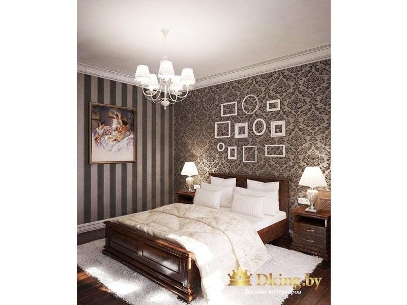 кровать темного дерева, белый потолок, темный паркет, белый текстиль и плинтус - беспроигрышное сочетание для классической спальни