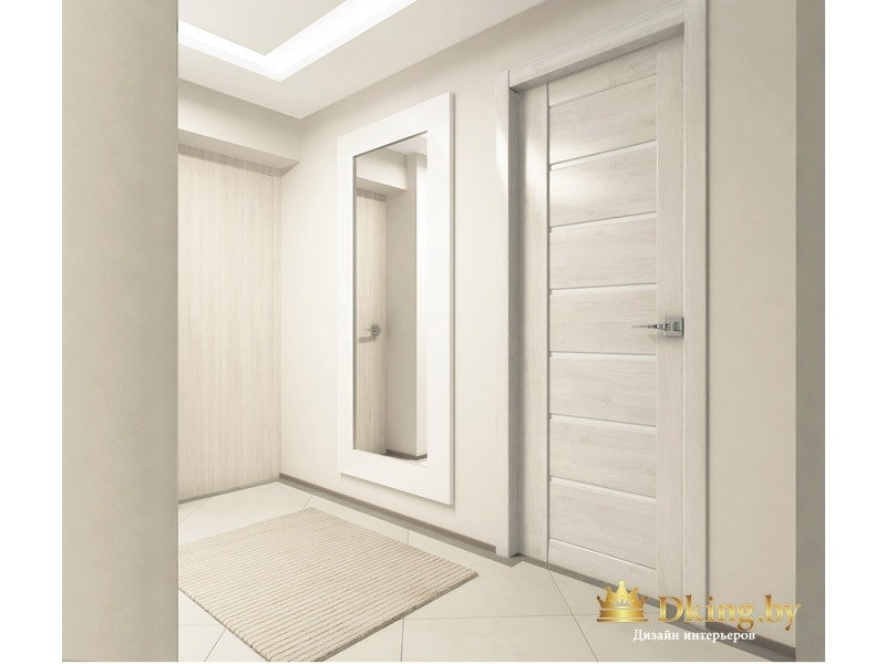 прихожая: зеркало во весь рост в широкой белой раме, наличники в цвет двери, плинтус контрастный темный