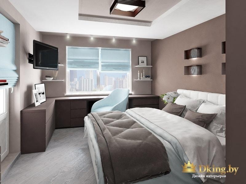 спальня: стены цвета темного какао, вдоль окна - угловая столешница с выдвижными ящиками под ней, голубой акцентный стул. кровать белая кожаная
