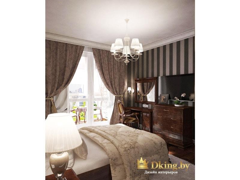 гостиная: окно драпировано шторами в пол с подхватами, напротив кровати - большой комод темного дерева, туалетный столик и зеркало в раме