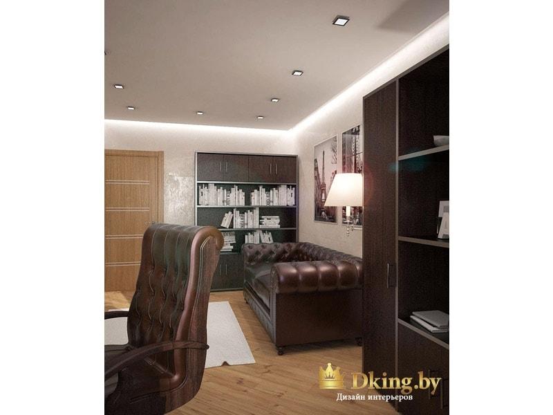 темная мебель на фоне светлых стен и пола