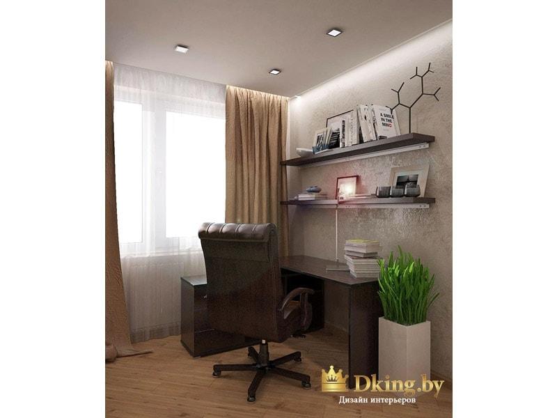 рабочий уголок: стол цвета венге, шоколадного цвета рабочее кожаное кресло, над столом полки
