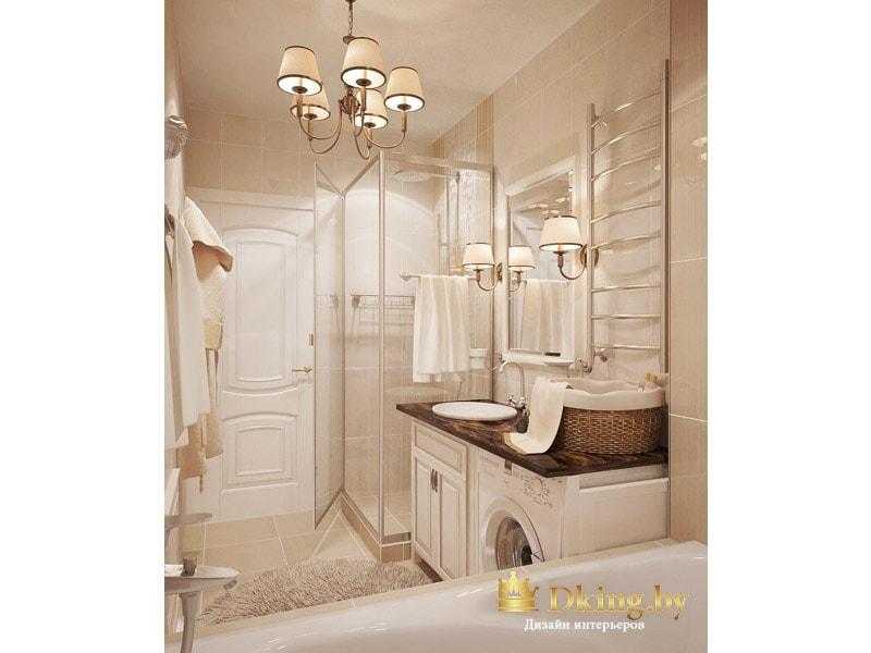 классическое освещение в ванной комнате: пятирожковая люстра и два бра возле зеркала