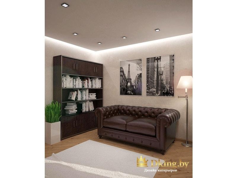 кожаный двухместный диван, шкаф для документов. Мебель темно-коричневая, пол и стены светлые. Ковер белый