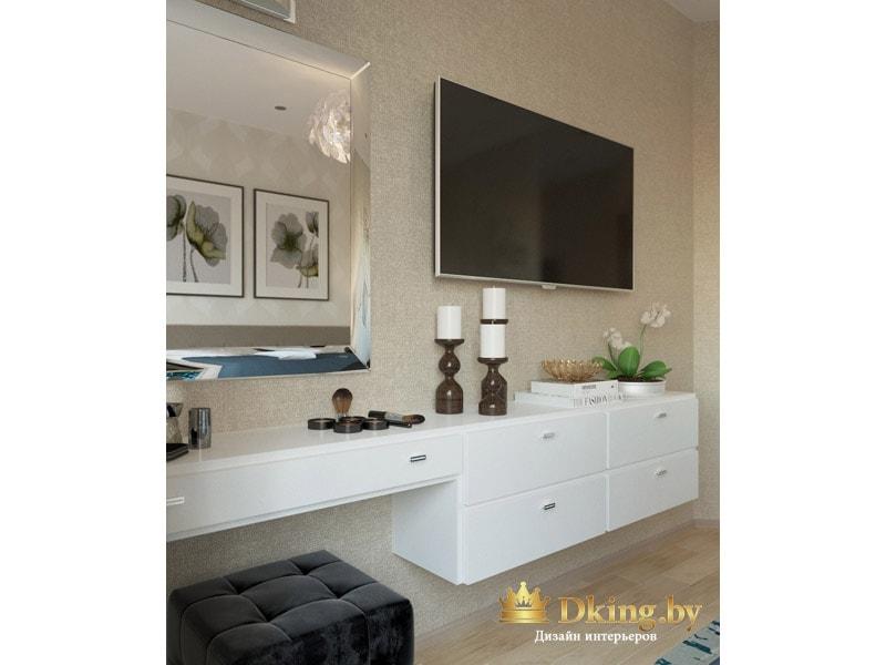 оригинальное решеие для организации туалетного столика в спальне: подвесная двухуровневая консоль с выдвижными ящиками. цвет белые, ручки небольшие хромированные