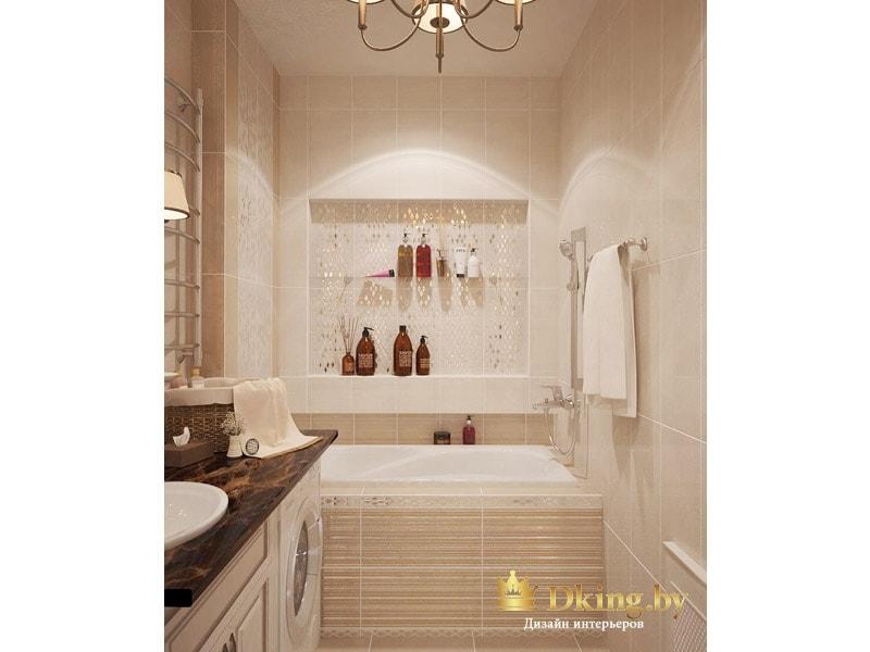 вид на ванну: ниша в стене для хранения душевых принадлежностей, экран ванны выложен плиткой в узкую полоску бежевого цвета
