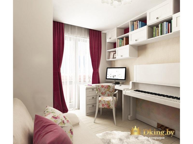 светлая детская для девочки. на окнах акцентные бордово-малиновые шторы. белое пианино, стул с цветочным принтом
