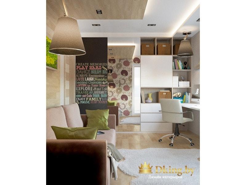 детская комната: много открытых и закрытых мест для хранения, вместо подоконника - рабочий стол. мебель белого цвета. Стена за диваном оформлена деревянными панелями, переходящими на потолок.