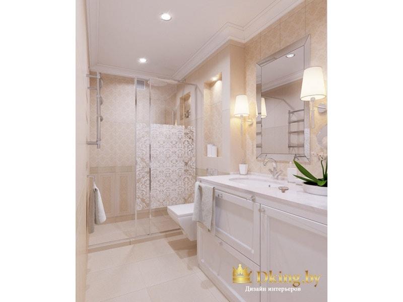 Вид на душевую зону в ванной: раздвижная стеклянная дверь с пескоструйным узором