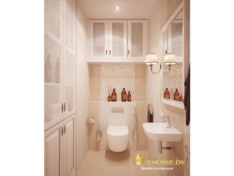 второй санузел: подвесной унитаз, подвесной умывальник с хромированным сифоном. дополнительные шкафчики для хранения со стелкянными и белыми филенчатыми дверями