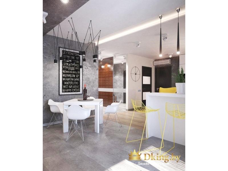 вид на кухню: столовая группа белого цвета, современные пластиковые стулья. возле барной стойки пластиковые сетчатые стулья