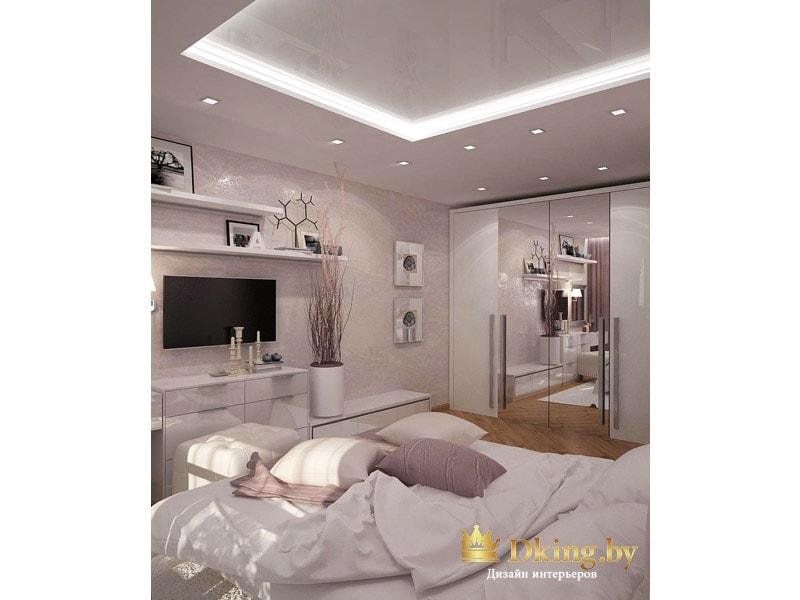 Оригинальный потолок в спальне: светодиодная подсветка