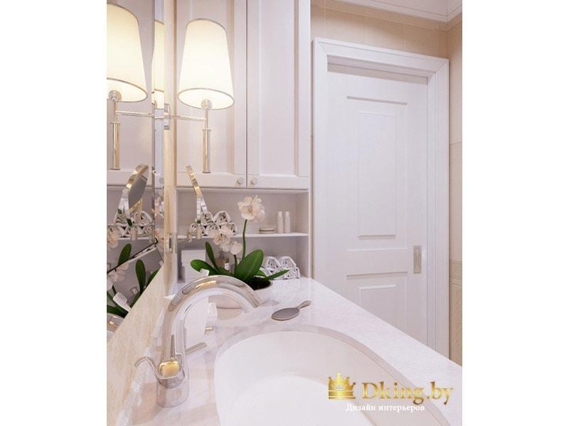 столешница из камня с умывальником, белая дверь в ванной комнате