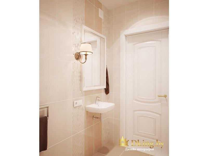 вертикальная раскладка плитки, зеркало в белой раме, белая дверь и подвесной уыальник
