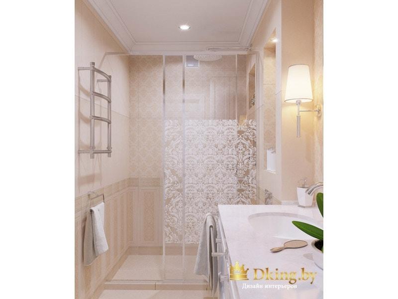 душевой уголок с раздвижными стекляными дверями с пескоструем: акцентная стена, классическая раскладка плитки, полотенцесушитель лесенка